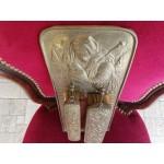 Месингова поставка за стена с две четки за дрехи с месингов обков - 2324