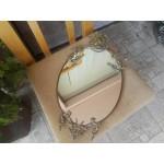 Страхотно малко бароково огледало с месинг и печат - 2329