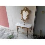 Конзола с ръчно рисувано огледало месинг от Испания - 4114