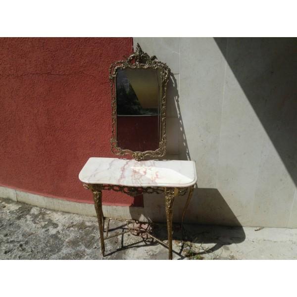 Конзола и огледало плътен месинг от Испания - 4115