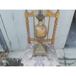 Страхотна настолна лампа от метал и опушено стъкло - 1902