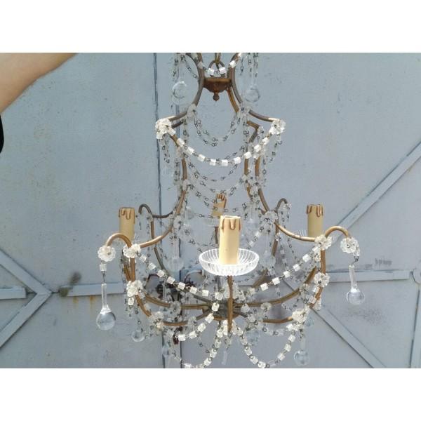 Голям полилей от стъкло и метал с пет крушки - 1844
