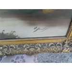 Стара авторска картина масло - 1856