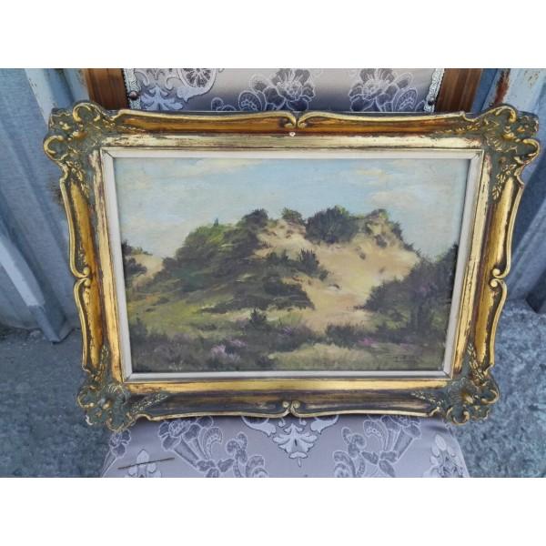 Малка много стара авторска картина масло - 1863