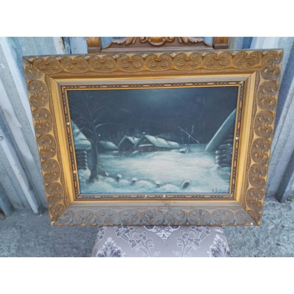 Много стара картина масло с подпис - 1868