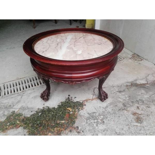 Масивна махагонова холна маса с розов мрамор и лъвски крака от Испания - 4136