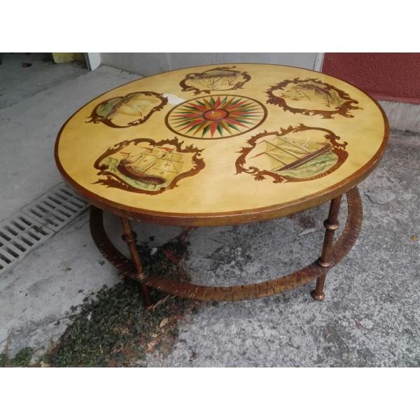 Находка, ръчно рисувана холна маса Испания с дървен плот и ковано желязо за основа - 4137