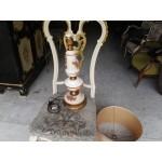 Настолна голяма лампа месинг и порцелан, шапка от кожа и бродерия - 4141