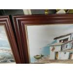 Сет картини масло на платно Испания, един автор, красиви двойни дъбови рамки - 4146