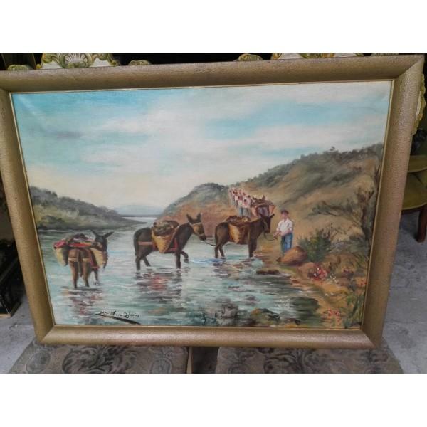 Много картина стара масло на платно Испания - 4154