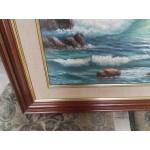 Стара авторска картина масло на платно Испания, страхотна тройна рамка - 4158