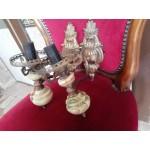 Двойка аплици за стена от месинг с декорация и оникс - 3509
