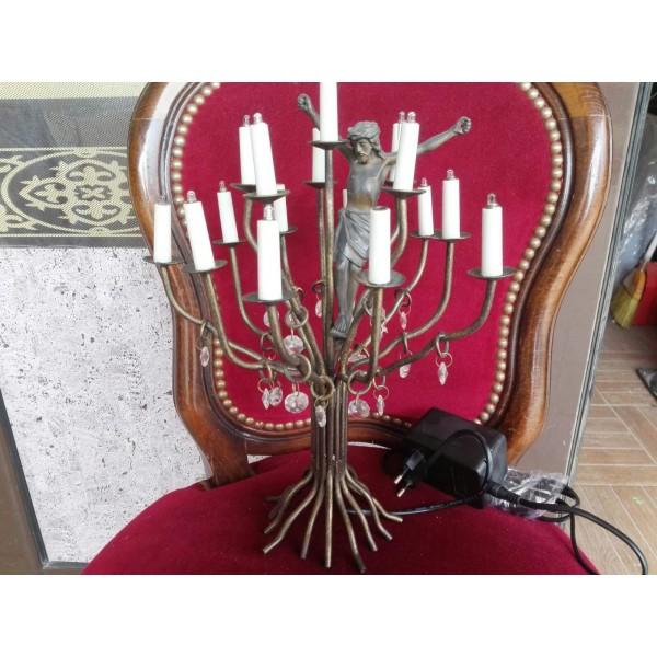 Стара медна лампа дървото на живота и Исус - 2303