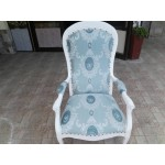 Оригинално ретро кресло с подлакътници - нова тапицерия - 1454