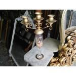 Уникален малък свещник, тройка, от месинг и рисувано стъкло - 1409